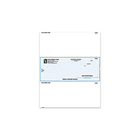 "Laser Direct Deposit Advice Checks For Sage Peachtree®, 8 1/2"" x 11"", 2 Parts, Box Of 250"