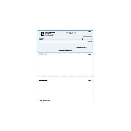 "Custom Laser Multipurpose Voucher Checks, Direct Deposit Advice Checks For Quickbooks®, 8 1/2"" x 11"", 2 Parts, Box Of 250"