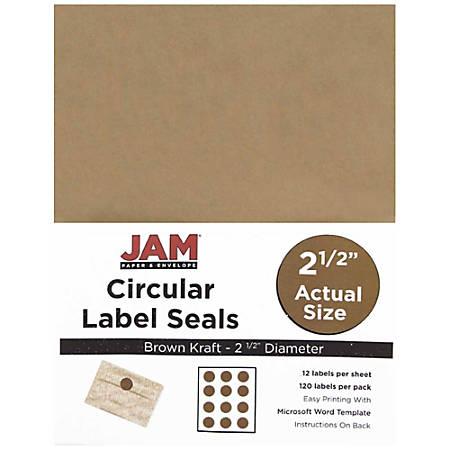 "JAM Paper® Circle Label Sticker Seals, 2 1/2"", Brown Kraft, Pack Of 120"