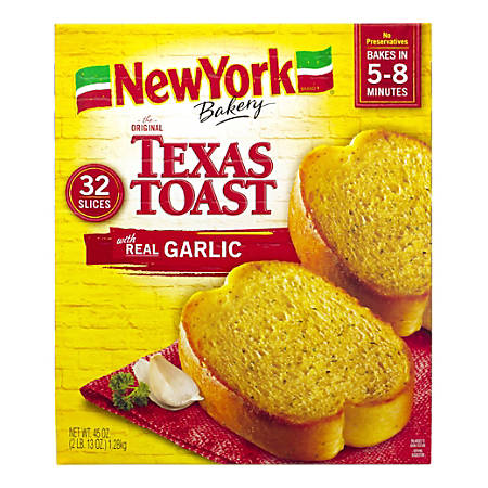 New York Garlic Texas Toast, 44.96 Oz, Box Of 32 Slices