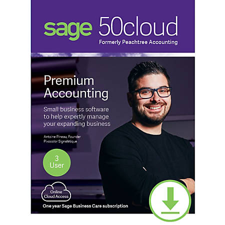 Sage 50cloud Premium Accounting 2019 U.S. 3-User One Year Subscription