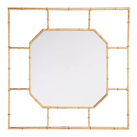 """Zuo Modern Bamboo Square Mirror, 26 1/4""""H x 26 1/4""""W x 1""""D, Gold"""