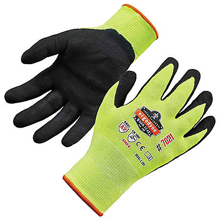 Ergodyne ProFlex 7021 Polyester Hi-Vis Nitrile-Coated Gloves, XL, Lime