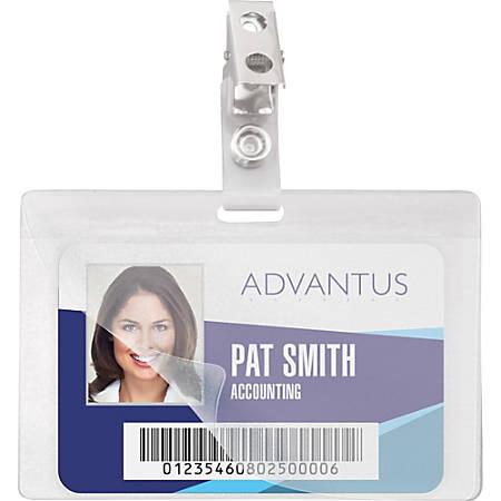 "Advantus Strap Clip Self-laminating Badge Holders - Horizontal - 4"" x 2.9"" - 25 / Pack - Clear"