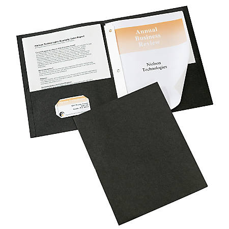 Avery® 2-Pocket Folders With Fasteners, Letter Size, Black, Pack Of 25