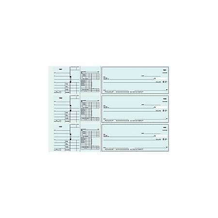 """3-To-A-Page Checks, Style 41, 8 1/4"""" x 3 1/24"""", 1 Part, Box Of 300"""