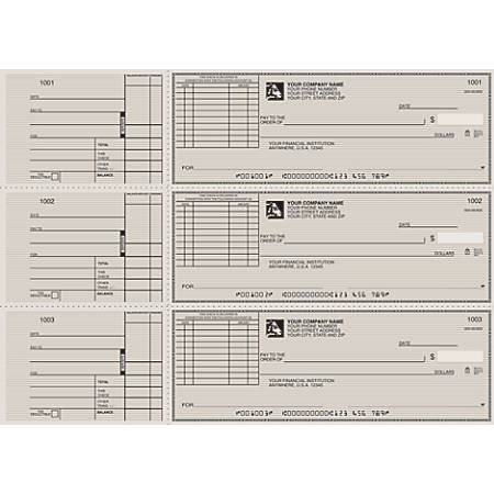 "Custom 3-To-A-Page Checks, Style 72, 8 1/4"" x 3 1/24"", 1 Part, Box Of 300"