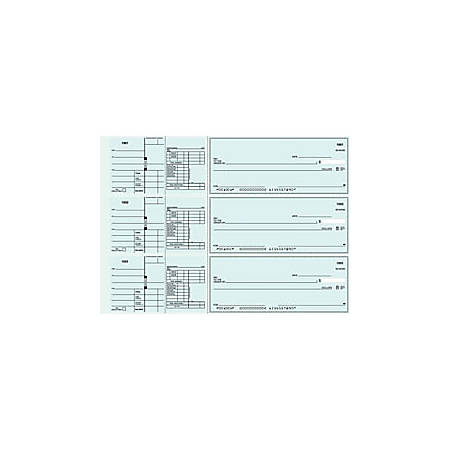 """Custom 3-To-A-Page Checks, Style 41, 8 1/4"""" x 3 1/24"""", 2 Part, Box Of 300"""