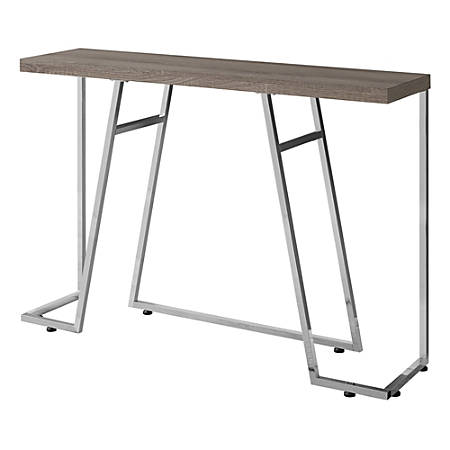 Monarch Specialties Metal Hall Console Accent Table, Rectangular, Dark Taupe/Chrome