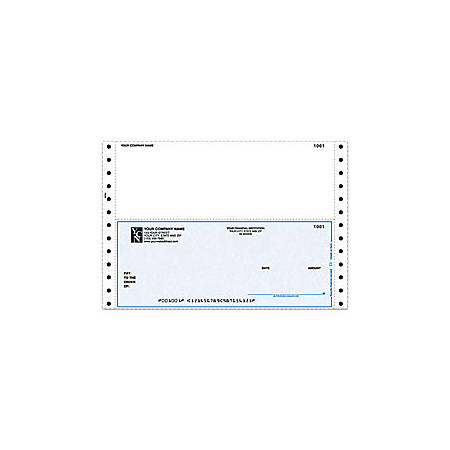 "Custom Continuous Multipurpose Voucher Checks For Sage Peachtree®, 9 1/2"" x 6 1/2"", 1 Part, Box Of 250"