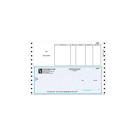 """Custom Continuous Accounts Payable Checks For Sage Peachtree®, 9 1/2"""" x 6 1/2"""", 2 Parts, Box Of 250"""