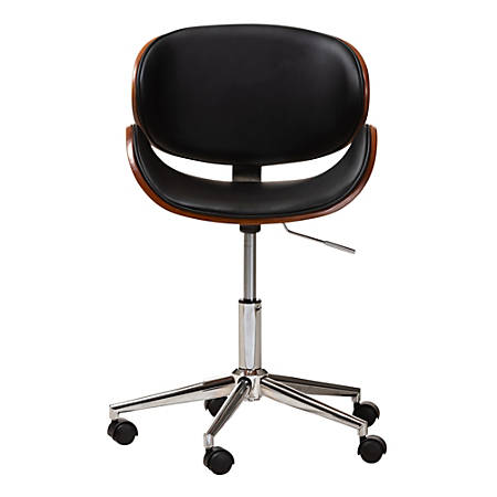 Baxton Studio Nico Faux Leather Mid-Back Office Chair, Black/Walnut