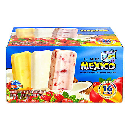 Helados Mexico All-Natural Ice Cream Bars, 48 Oz, Box Of 16 Bars