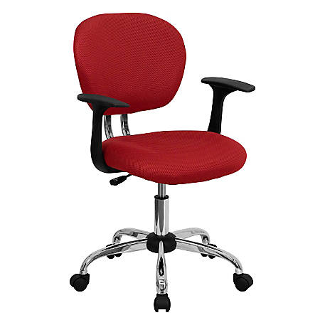 Flash Furniture Mesh Mid-Back Swivel Task Chair With Arms, Red/Silver