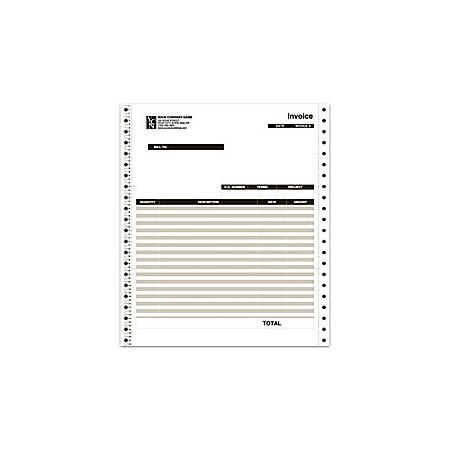 "Custom Continuous Invoice Form For QuickBooks®, 9 1/2"" x 11"", 3 Parts, Box Of 250"