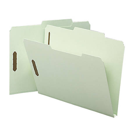 Smead® 2/5-Cut Top-Tab Folders With Fasteners, Letter Size, 60% Recycled, Gray Green, Box Of 25