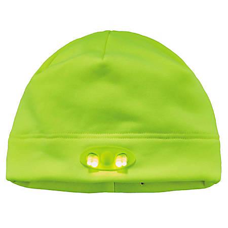 Ergodyne N-Ferno LED Light Fleece Skull Cap Beanie Hat, Lime