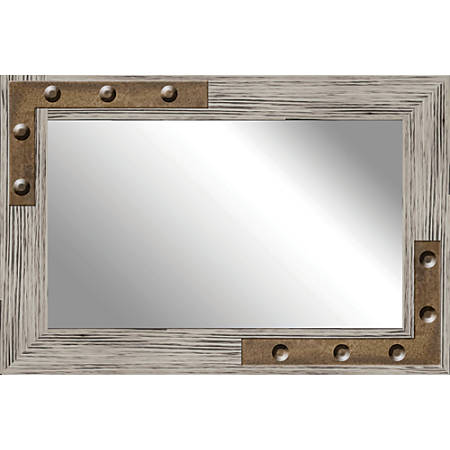 """PTM Images Framed Mirror, Studs, 20""""H x 30""""W, Natural Brown"""
