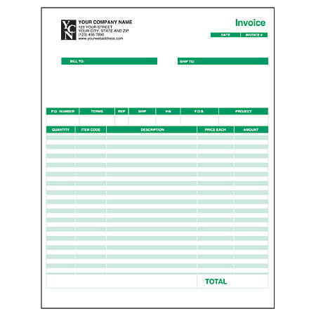 "Custom Laser Forms, Invoice For QuickBooks®, 8 1/2"" x 11"", 1 Part, Box Of 250"