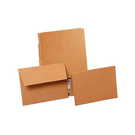 "JAM Paper® Stationery Set, 4"" x 5 1/2"", Brown Kraft, Set Of 50 Cards And Envelopes"