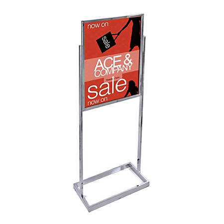 "Azar Displays Metal Vertical Panel Poster Stand, 59""H x 23-3/4""W x 15""D, Chrome"