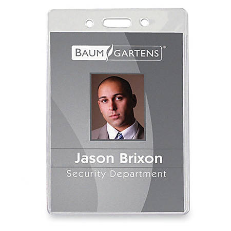 "Baumgartens® ID Badge Holder, 4"" x 3 5/8"", Clear, Pack Of 50"
