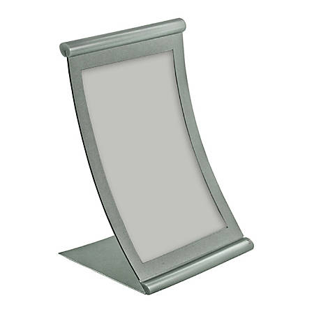 "Azar Displays Metal Vertical Curved Sign Holder, 8-1/2""H x 5-1/2""W x 3""D, Silver"