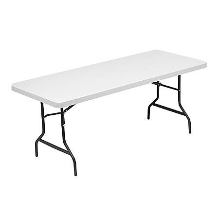 Realspace® Molded Plastic Top Folding Table, 6'W, Platinum