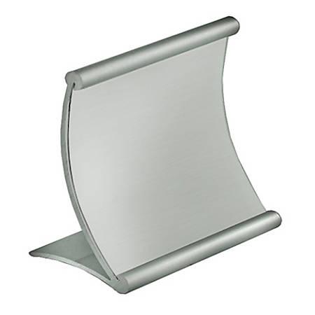 "Azar Displays Metal Horizontal Curved Sign Holder, 4""H x 4""W x 3""D, Silver"