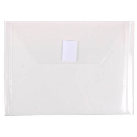 """JAM Paper® Plastic Booklet Envelopes With Hook-And-Loop Fastener, 5 1/2"""" x 7 1/2"""", Clear, Pack Of 12"""
