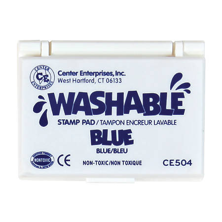 "Center Enterprise Washable Stamp Pads, 2 1/4"" x 3 3/4"", Blue, Pack Of 6"