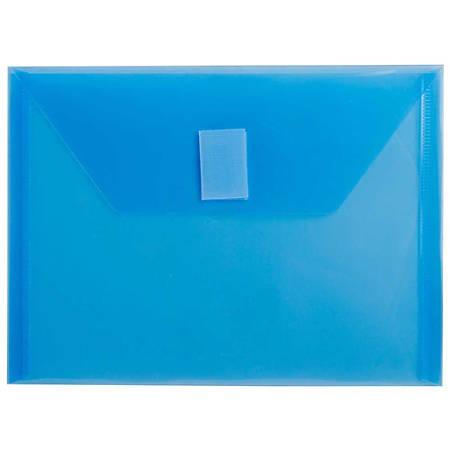 "JAM Paper® Plastic Booklet Envelopes With Hook-And-Loop Fastener, 5 1/2"" x 7 1/2"", Blue, Pack Of 12"