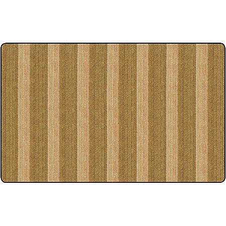 Flagship Carpets Basketweave Stripes Classroom Rug, 7 1/2' x 12', Brown