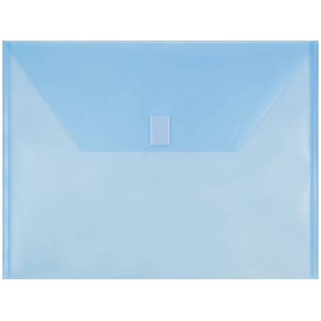 "JAM Paper® Plastic Booklet Envelopes With Hook & Loop Closure, Letter-Size, 9 3/4"" x 13"", Blue, Pack Of 12"