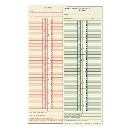 """TOPS® Time Cards (Replaces Original Cards 10-100372 & CH131), Numbered Days, 2-Sided, Semi-Monthly Format, 10 1/2"""" x 3 1/2"""", Box Of 500"""