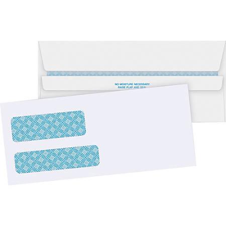 "Business Source No. 9 Double Window Invoice Envelopes - Double Window - #9 - 8 7/8"" Width x 3 7/8"" Length - 24 lb - Self-sealing - 500 / Box - White"
