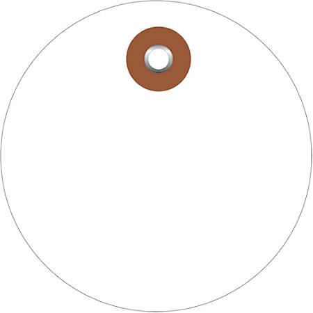 "Office Depot® Brand Plastic Circle Tags, 2"", White, Pack Of 100"