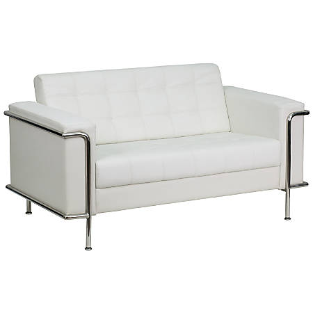 Flash Furniture HERCULES Lesley Series Contemporary Leather Loveseat, White/Stainless Steel