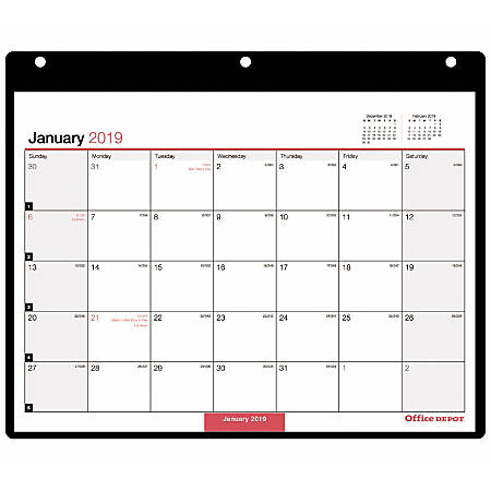 """Office Depot® Brand Monthly Wall Calendar, 11"""" x 8 1/8"""", Black/Red, January to December 2019"""