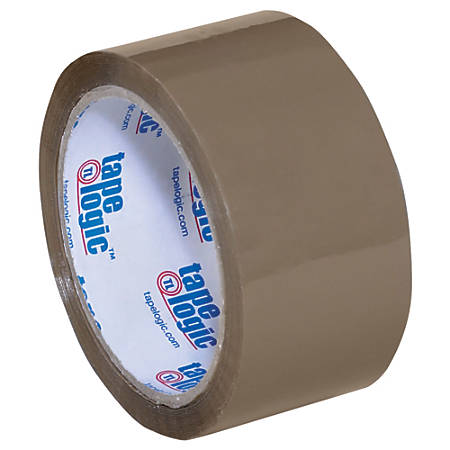 "Tape Logic® #400 Industrial Acrylic Tape, 3"" Core, 2"" x 55 Yd., Tan, Case Of 6"