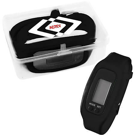 """LED Pedometer Watch With Case, 2 3/16""""H x 3 1/16""""W x 1 3/16""""D"""