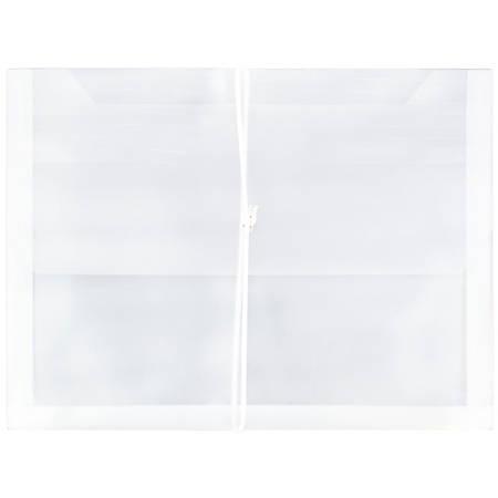 "JAM Paper® Plastic Booklet Expansion Envelopes With Snap Closure, Letter-Size, 9 3/4"" x 13"", Clear"