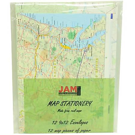 JAM Paper® Map Stationery Set, Set Of 12 Envelopes And 12 Sheets