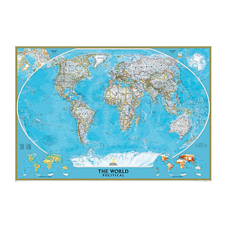 "National Geographic Maps World Mural Map, 76 1/2"" x 110"""
