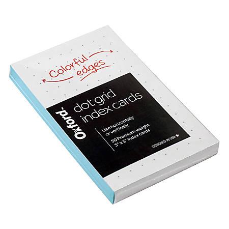 "Oxford Dot Grid Index Cards, 3"" x 5"", Shoreline Blue Edges, Pack Of 50 Cards"