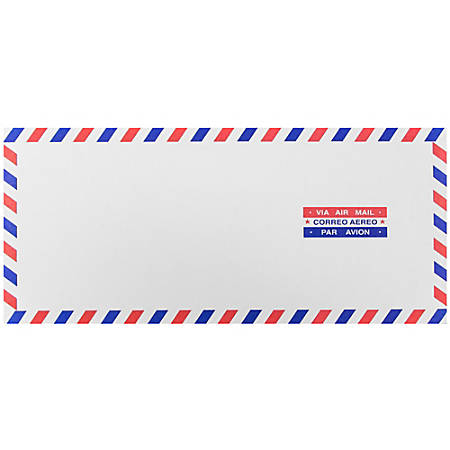"JAM Paper® Booklet Envelopes With Gummed Closure, #10, 4 1/8"" x 9 1/2"", Airmail, Pack Of 25"
