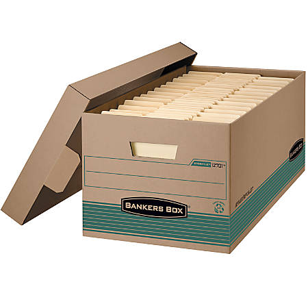 "Bankers Box® FastFold™ Stor/File™ Storage Boxes, 24"" x 12"" x 10"", Letter, 100% Recycled, Kraft/Green, Pack Of 12"