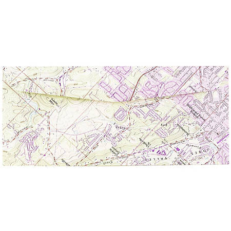 "JAM Paper® Booklet Envelopes With Gummed Closure, #10, 4 1/8"" x 9 1/2"", Map Print, Pack Of 25"
