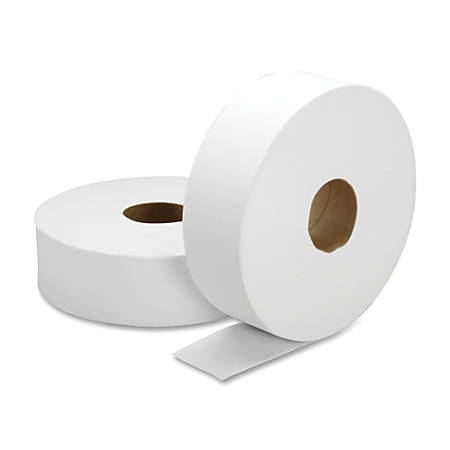 """SKILCRAFT® 100% Recycled Jumbo Roll Toilet Paper, 2-Ply, 3 7/10"""" x 2000', White, Box Of 6 Rolls"""