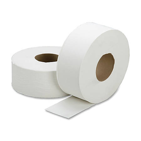 "SKILCRAFT® 100% Recycled Jumbo Roll Toilet Paper, 1-Ply, 3 7/10"" x 2000', White, Box Of 12 Rolls"